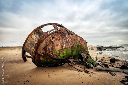 Fotobehang Schipbreuk Ship Wreck along the Skeleton Coast in Western Namibia taken in January 2018