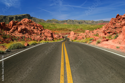 Poster Route 66 Scenic road in Valley of Fire State Park in Nevada USA