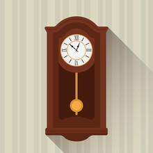 Retro Wooden Clock Pendulum Ic...