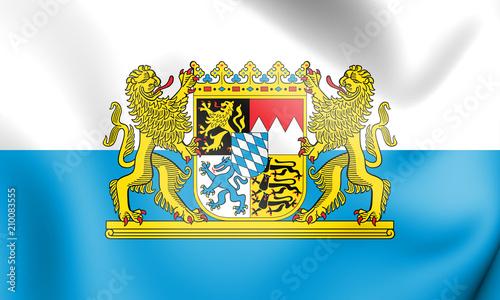 3D Flag of Bavaria, Germany. Canvas Print