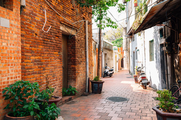 Fototapeta na wymiar Jiuqu Lane historic old street in Lukang, Taiwan