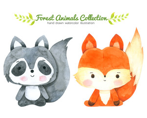 Fox and Raccoon Cartoon watercolor collection isolated on white background ,Forest Animal Hand drawn painted character for Kids,Greeting Card ,Cases design,Postcards, Product,Notebook and more