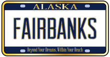 Alaska State License Plate Mockup With The City Fairbanks