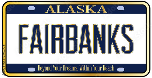 Alaska State License Plate Mockup With The City Fairbanks Wallpaper Mural