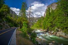 Roadside Attraction - Merced River Rapids In Yosemite National Park, California