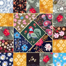 Cute Square Patchwork Pattern With Beautiful Rooster, Butterflies, Paisley And Various Flowers In Country Style. Quilt, Blanket, Greeting Or Invitation Card.