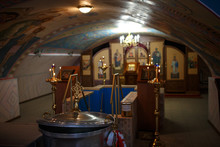 Interior In The Russian Orthodox Christian Church, Icons, Candles