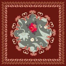 Beautiful Doily Or Pillowcase With Stylized Mandala And Paisley Border On Brown Background In Vector. Ethnic Motives.