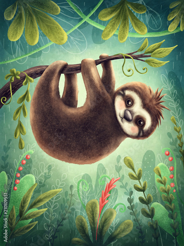 Cute sloth Fototapet