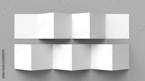 Fotografía  12 page leaflet, 6 panel accordion fold - Z fold square brochure mock up isolated on gray background