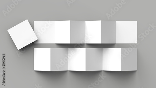 12 page leaflet, 6 panel accordion fold - Z fold square brochure mock up isolated on gray background Wallpaper Mural
