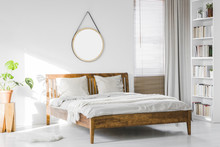 A Wooden Rustic Bed Frame And ...