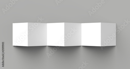 Photo 12 page leaflet, 6 panel accordion fold - Z fold square brochure mock up isolated on gray background
