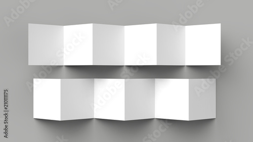 12 page leaflet, 6 panel accordion fold - Z fold square brochure mock up isolated on gray background Fototapet