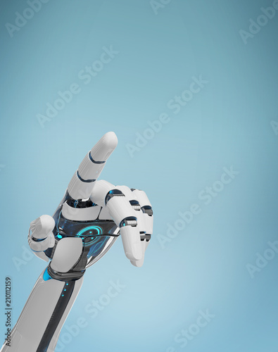 Photo White cyborg pointing his finger 3D rendering