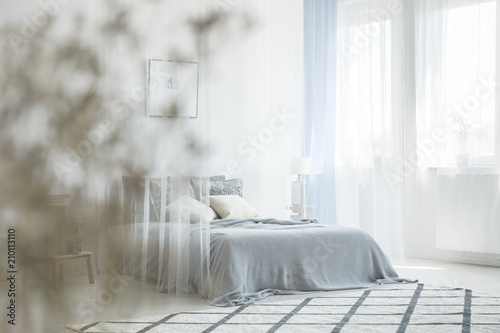 Cuadros en Lienzo White bedroom interior with carpet, window with drapes and king-size bed with ca