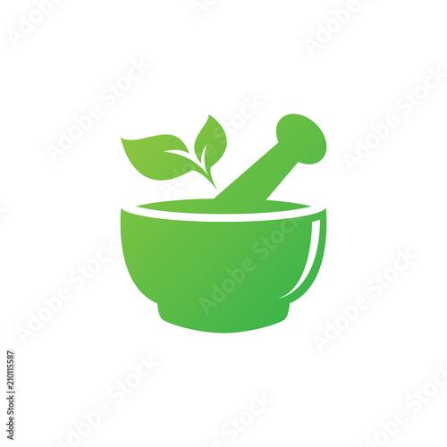 Mortar and pestle pharmacy nature herbal health logo design vector template Canvas Print