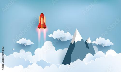 ilustracja-promu-przelatujac-przez-piekne-chmury-z-pelna-predkoscia-projektowanie