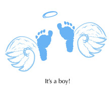 Angel Wings With Baby Foot Pri...