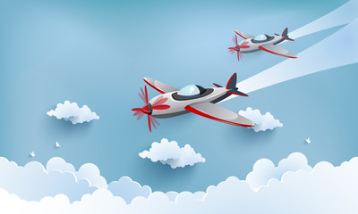 Fototapeta illustration of airplane over a clouds and mountains.