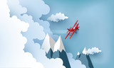illustration of an airplane over a clouds and mountains.
