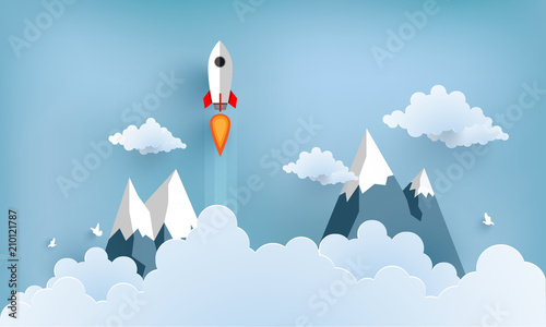 Obraz rocket illustration flying over cloud. beautiful scenery with white clouds - fototapety do salonu