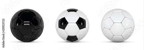 Fotografia Set of realistic soccer balls or football ball on white background