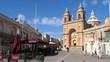 Village of Marsaxlokk in Malta, center square and Parish Church building