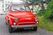 Small old retro red Italian car