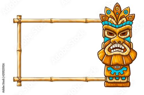 Tiki traditional hawaiian tribal mask with human face on bamboo