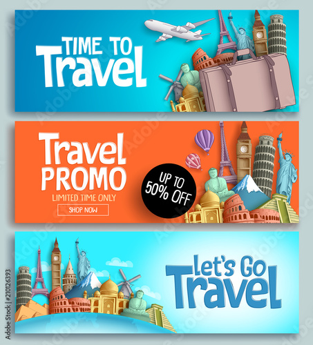 Fotografía  Travel banner set vector template design with travel and tour text and world's famous landmarks and tourist destinations elements in colorful background