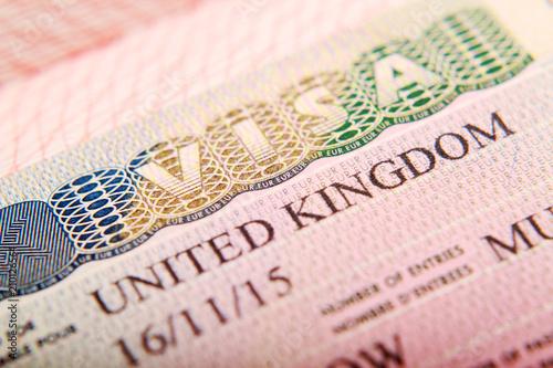 Fotografie, Obraz United Kingdom visa in a passport