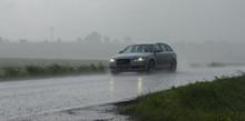 Starkregen Auf Einer Landstraß