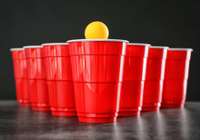 Cups And Ball For Beer Pong On...