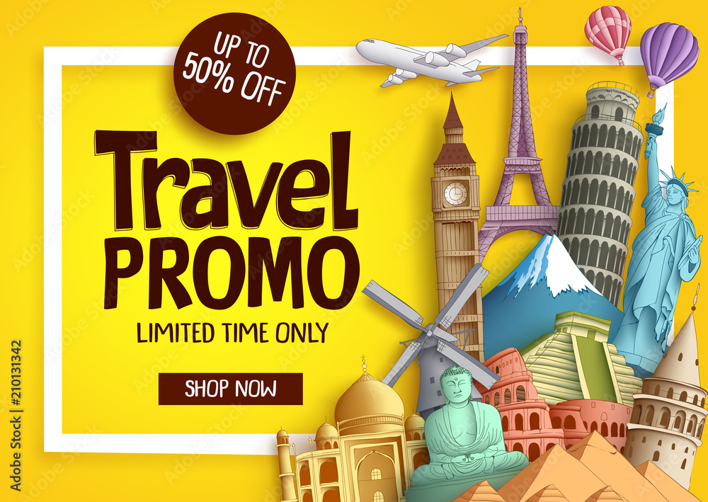 Fototapety, obrazy: Travel promo vector banner template with discount text and famous tourist landmarks elements in a frame for travel and tour promotion. Vector illustration.
