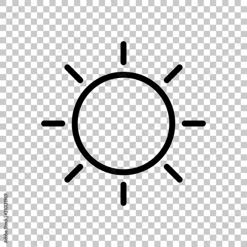 Sun icon  Linear, thin outline  On transparent background