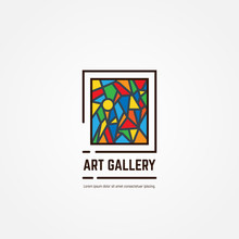 Art Gallery Logo. Color Paintings Emblem With Triangles And Lines. Abstract Picture. Studio Logotype. Museum Or Art Gallery Icon Line Style Vector.