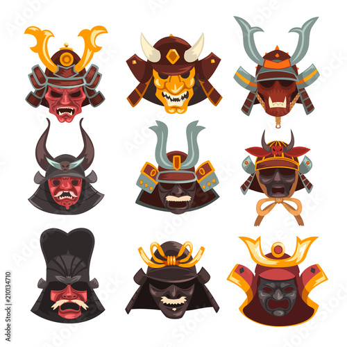 Ancient Samurai Warrior War Masks Set Symbols Of Traditional