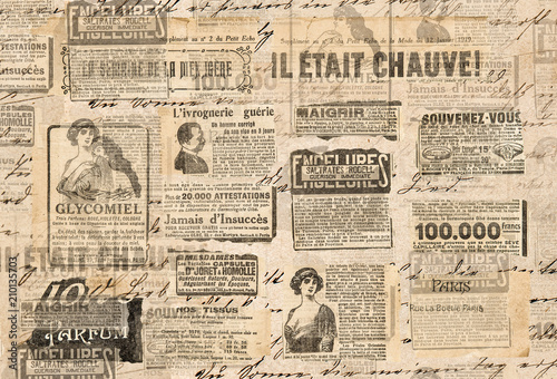 Creative vintage background Paper texture Newspaper strips фототапет