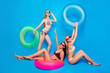 Leinwanddruck Bild Delight pleasure leisure daydream concept. Portrait of funky positive girls with colorful rubber rings enjoying rest isolated on bright blue background