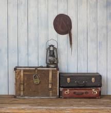 Ancient Vintage Wooden Room Wi...