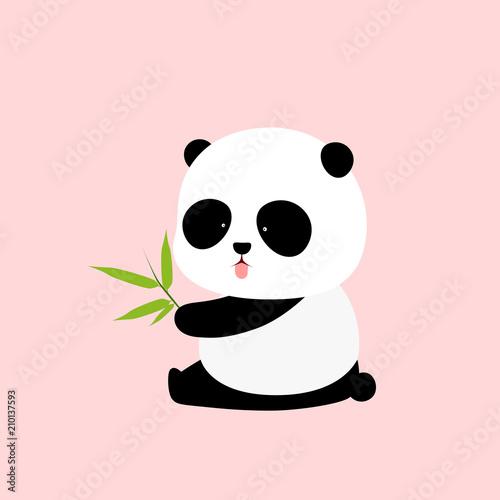 Ilustracja wektorowa: Panda gigant kreskówka siedzi na ziemi, wystaje język, z gałęzi bambusa pozostawia w dłoni