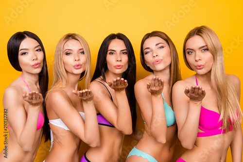 Air Kiss For You From Five Hot Ladies In Fancy Colorful Swim Wear Standing In