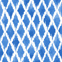 Hand Painted Messy Rhombuses Background In Blue. Seamless Vector Pattern