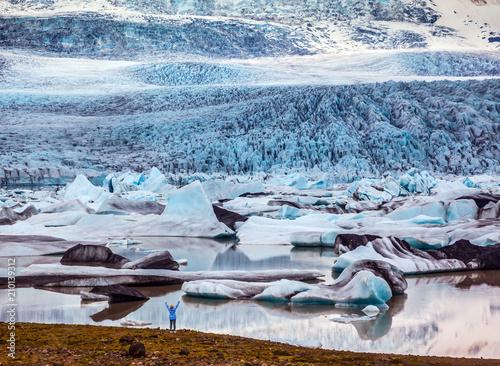 Fotobehang Gletsjers The sunset glacier Vatnajokull