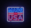 Made in USA neon vector sign. Made in USA symbol banner light, bright night Illustration. Vector illustration