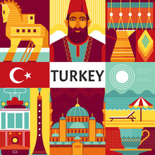 Turkey Travel Poster Concept. Vector Illustration With Turkish Culture Objects, Popular Places And Symbols, Such As Turks In National Costume, Trojan Horse, Blue Mosque And Old Tram In Flat Style.