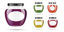 Realistic Transparent Glass Jar With Jam, Confiture Or Sauce. Preserving Packaging Set. Label And Logo For Jam. Mock Up Jar With Design Label Or Badges. Vector Illustrations.