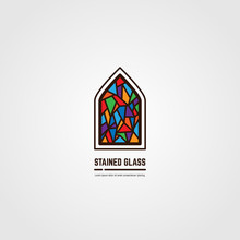 Colorful Stained Glass Window. Logo, Emblem Or Icon With Text. Thick Line Style Flat Style Linear Vector. Architecture, Religious Or Gallery. Bright Stain Glass And Color Window.