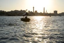 Beauty Landscape  And Architecture Under The Sky Blue Clouds.  Bur Dubai. Boat